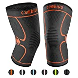 CAMBIVO 2 Pack Knee Brace, Knee Compression Sleeve Support for Running, Arthritis, ACL, Meniscus Tear, Sports, Joint Pain Relief and Injury Recovery (FDA Approved) (Medium, Black/Orange)