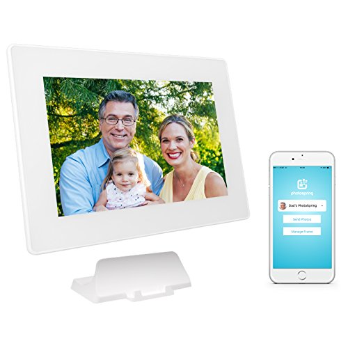 Smart Digital Photo Frame with 10-inch Touchscreen, Wi-Fi, Smartphone App, Battery, Photos and Video Playback