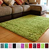 PAGISOFE Soft Shag Green Furry Area Rugs for Living Room Bedroom Kids Room Rug Fluffy Comfy Floor Carpet for Nursery Modern Plush Home Center Decorative Rug Cheap Fur Rug Mat 4' x 5',(Grass Green)