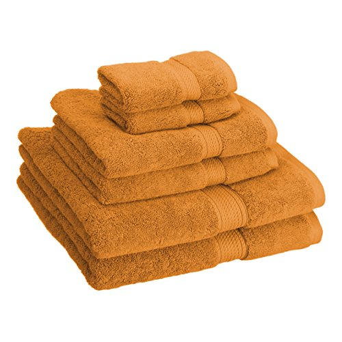 Superior 900 GSM Luxury Bathroom 6-Piece Towel Set, Made Long-Staple Combed Cotton, 2 Hotel & Spa Quality Washcloths, 2 Hand Towels, and 2 Bath Towels - Rust