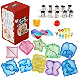 1 Set=38 Pieces+3 Bonus,Lunch Box Supplies,10 Sandwich Cutters for Kids, 10 Stainless steel vegetable cutters,10 Silicone Cup Dividers,10 Food Picks, 1 Bear Stamp