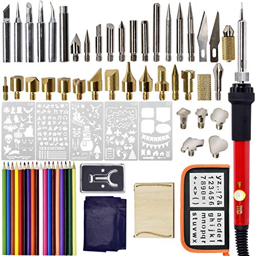 Wood Burning Kit, Soldering Iron Set, Pyrography Pen, Head Transforms Soldering/Carving/Embossing, Temperature Adjustment 110V/60W - 71 PCS