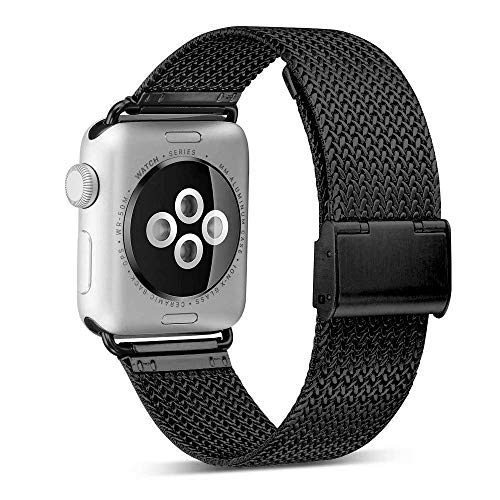 yamen Compatible with Apple Watch Band 42mm 44mm Stainless Steel Milanese Loop with Magnetic Closure Replacement Band Compatible with iWatch Series 4 Series 3 Series 2 Series 1 Black