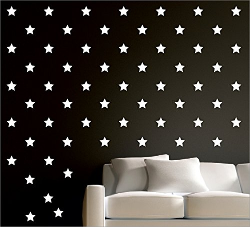 Wall1ders - 50 Star White 3D Acrylic Stickers, 3D Acrylic Mirror Wall Stickers for Living Room, Hall, Bed Room & Home TODAY OFFER ON AMAZON