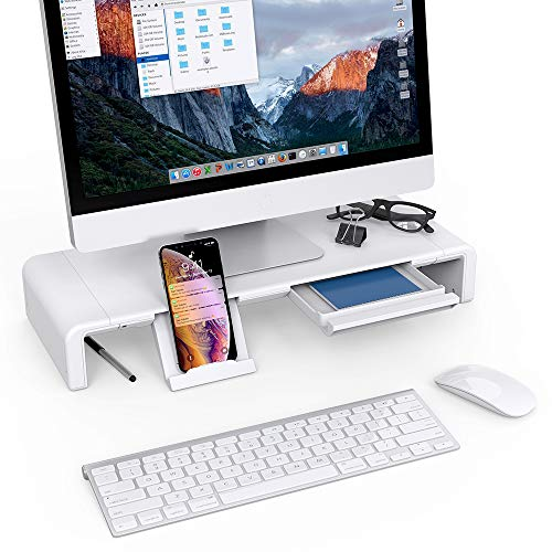 51D83pxEziL - Klearlook Foldable Monitor Stand Built in Storage Drawer Tablet&Phone Stand Holder, Width Adjustable Desktop Monitor Screen Riser,Anti-Slip Monitor Mount for Computer/Printer/Laptops/TV-White