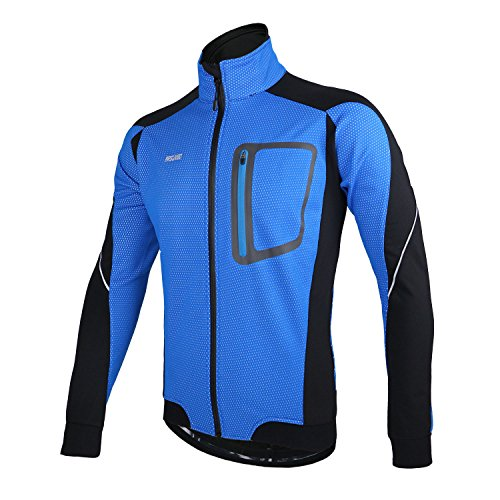 ARSUXEO Winter Thermal Fleece Cycling Jacket Windproof 14D Blue Size XXX-large