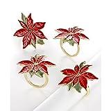Lenox Poinsettia Napkin Rings Set of 4