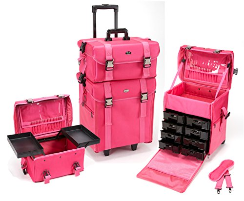 Seya 2 in 1 Professional Makeup Artist Rolling Makeup Train Case Cosmetic Organizer Soft Trolley w/ Storage Drawers & Upgraded Metal Buckles - Pink