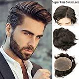 Rossy&Nancy Swiss Full Lace Men's Toupee European Real Human Hair Replacement for Men Hairpiece #1B Black Color