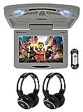 Rockville RVD12HD-GR 12' Grey Flip Down Car Monitor DVD/USB/SD Player+Headphones