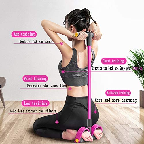 XmnDaue Pedal Resistance Band, [2020 Upgraded] 4-Tube Elastic Pull Rope Fitness Equipment, Bodybuilding Expander for Abdomen/Waist/Arm/Leg Stretching Slimming Train 4