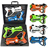 Liberty Imports Multiplayer Extreme Infrared Laser Tag Mega 4 Pack Game Set - Indoor Outdoor Interactive Battle Toy Lazer Gun Blasters w/ Gift Carrying Case