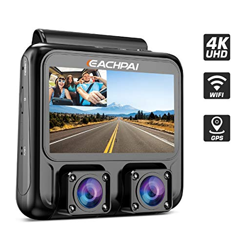 4K Dash Cam, EACHPAI X100 Plus Dash Camera Front and Cabin 3'' Dual Lens Dash Cam for Cars with WI-FI, GPS,IR Night Vision,Parking Mode,G-Sensor,Motion Detector,Loop Recording,WDR