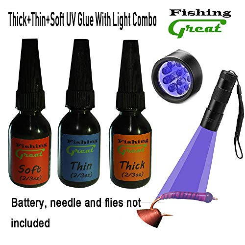 Greatfishing Fly Tying UV Clear Glue and Power UV Light Combo Three Bottles Thick Thin and Soft +12 LED UV Light for Building Flies Heads Bodies Wings and Gluing Eyes(UV Glue+Light Combo)