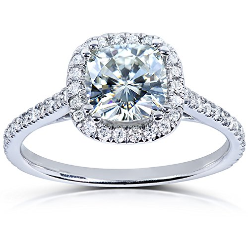 51DJB6Uq8tL Center stone is a 1ct Cushion Cut Genuine Kobelli Moissanite Stones along halo and shank are 100% Natural, Conflict-free, Diamonds Satisfaction Guaranteed. Return or Exchange Policy Within 30 Days