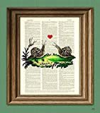 Snail Art Print Romantic Slow Love Snails With Heart Altered Art Dictionary Page Illustration Book Print