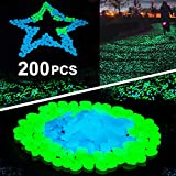 Sunnset Glow in The Dark Garden Pebbles,200 Pcs Glow Decorative Stones Rocks,Luminous Pebbles for Outdoor Decor, Garden Lawn Yard, Aquarium, Walkway, Fish Tank, Pathway, Driveway