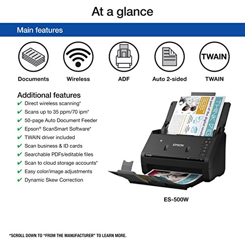 Epson WorkForce ES-500W Wireless Color Duplex Document Scanner for PC and Mac, Auto Document Feeder (Renewed)
