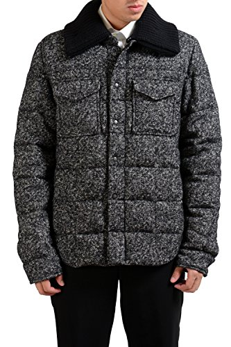 """A17MYAOTkdL Material: 11% Nylon 65% Wool 16% Polyester 5% Mohair 3% Acrylic 100% Goose Down Made in Italy Chest: 22.5"""" Sleeves: 29"""""""