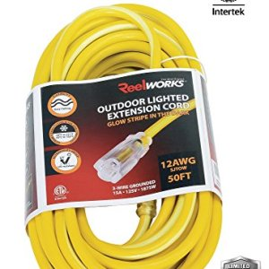 REELWORKS Heavy Duty Extension Cord Single Outlet, 50′
