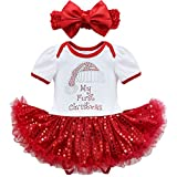 YiZYiF Baby Girls Outfits Newborn Infant My First Christmas Tutu Dress Up (6-9 Months, 2PCS 1st Xmas)