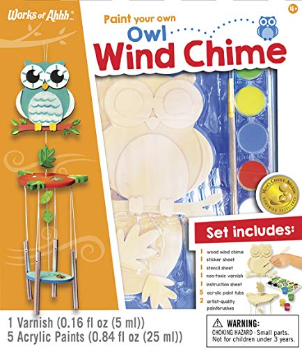 MasterPieces Works of Ahhh Real Wood Large Acrylic Paint & Craft Kit, Wind Chime with Owl, Mom's Choice Award, for Ages 4+