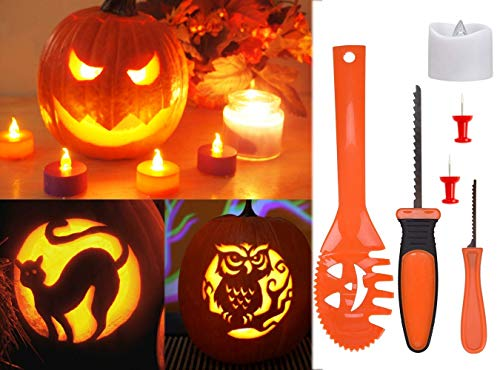 Pumpkin Carving Kit Professional Tools Timer Operated Candles Safe For Children