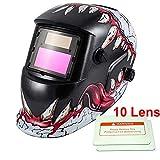 iMeshbean Welding Helmet,Pro Cool Solar Auto-Darkening Welding & Grinding Helmet + 10 pcs Extra Lens Covers ANSI Certified Model#1034 -with Warranty USA