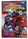 Justice League Valentine Card & Lollipop Kit - 10 Cards & Pops