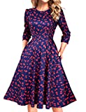 Simple Round Neck Floral Knee Length Dress for Women with Sleeves (S, Floral2)