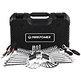 "MAXPOWER 124-Piece Mechanics Tool Set, 1/4""&3/8"" Dr Sockets, Universal Joint, Adapter, Extension Bar, Spinner Handle, Ratchet Handle, Spark Plug, Bits, Pliers and Combination Wrenches"