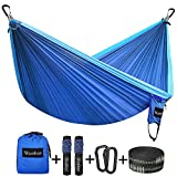 Wonbor Hammock, Camping Double Hammock Lightweight Portable Parachute Nylon Hammock With Tree Straps Ropes for Outdoor Backpack Travel Beach Yard Hanging Bed Sleeping Swing