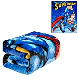 JPI DC Comics Superman Twin Plush Blanket - Superman Universe - Officially Licensed - Super Soft & Thick - 60'' x 80'' - 100% Polyester