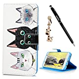 S7 Edge Case,Samsung Galaxy S7 Edge Case - Badalink Premium Wallet Folio Magnetic Flip Cover Print PU Leather Kickstand Card Holders Soft TPU Inner Case & Dust Plug & Stylus - Three Cats