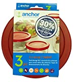 Anchor Hocking Improved 30% Stronger Replacement Lid 4 Cup / 946 ml / 1 qt, Set of 3 lids, Red Round