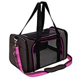 Pet Carrier Compatible Dog and Cats, Airline Approved Bag, Travel Collapsible for Small Puppy Up to 15lbs, Soft Side Dog Crate, Portable Kennel for Puppies (Medium, Rosy)