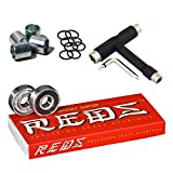 Bones Super Reds Bearings, 8 Pack Set with Spacers, Speed Rings, and T-Tool