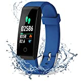 DoSmarter Fitness Tracker, Color Screen Activity Health Tracker with Heart Rate Blood Pressure Monitor, Waterproof Smart Pedometer Watch Band with Step Calories Counter for Kids Woman Man, Blue