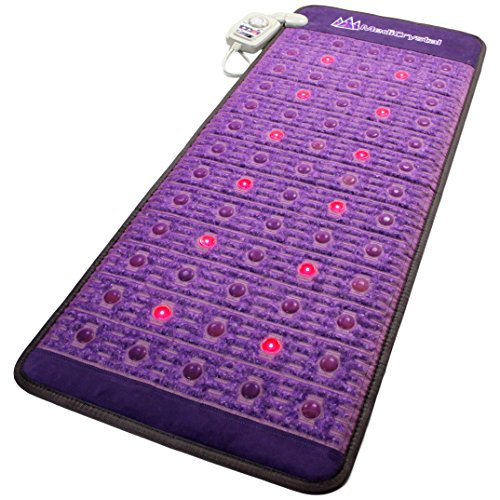 "Far Infrared Amethyst Mat Midsize 59'L x 24""W + Natural Agate Gems - 4, 8, 10, 14 Hz PEMF Bio Magnetic Pulsation - Red Light Photon Therapy - FDA Registered Manufacturer -Negative Ion -FIR Heating Pad"