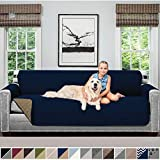 Sofa Shield Original Patent Pending Reversible Oversize Sofa Slipcover, Dogs, 2' Strap/Hook, Seat Width Up to 78' Washable Furniture Protector, Couch Slip Cover for Pets (Oversize Sofa: Navy/Sand)