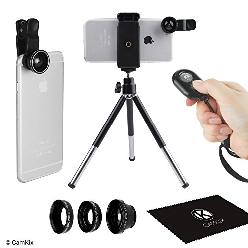 Universal 3in1 Camera Lens Shutter Remote + Tripod Kit for Smartphones, Including Bluetooth Camera Remote, Fish Eye, 2in1 Macro and Wide Angle, Lens Clip, Tripod, Phone Holder, Bag and Cleaning Cloth