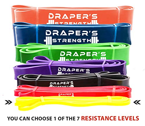 Draper's Strength Heavy Duty Pull Up Assist and Powerlifting Stretch Bands (Single Band or Set) 41-inch #1 Yellow (2-15 lbs) 1/4' X 41' Long