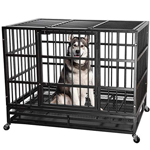 ITORI 48' Heavy Duty Metal Dog Cage Strong Kennel Crate and Playpen for Training Large Dog and Pet Indoor and Outdoor with Double Doors & Locks Design Included Lockable Wheels and Removable Tray
