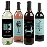 Home Sweet Home - Housewarming Gift for Women and Men - Wine Bottle Label Stickers - Set of 4