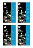 GE String A Long 100 Count Indoor / Outdoor Mini Clear White Holiday / Party Lights Set on Green Wire (4 Pack)