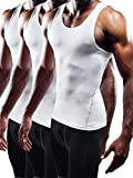 Neleus Men's Athletic 3 Pack Compression Tank Top Dry Fit Undershirts,White,XL,EUR 2XL