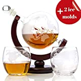 Whiskey Globe Decanter Set (28 Oz) for Liquor  Bourbon  Vodka  with 2 Glasses (10 Oz) and More in Premium Gift Box - Home Bar Accessories for Men - Perfect for All Kinds of Alcohol Drinks