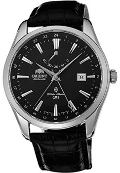 Orient Men's GMT Stainless Steel Swiss Automatic Watch with Leather Strap, Black, 22 (Model: FDJ05002B0)