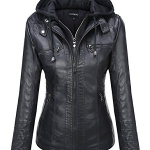 Tanming Women's Removable Hooded Faux Leather Jackets 7 Fashion Online Shop Gifts for her Gifts for him womens full figure