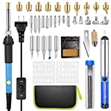 Wood Burning Kit, [Upgraded] Rarlight Woodburning Tool with Soldering Iron Intlmate, 54 PCS Adjustable Temperature Soldering Pyrography Wood burning Pen, Embossing/Carving/Soldering Tips/Carrying Case